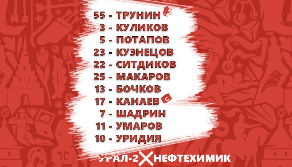 «Урал-2» — «Нефтехимик»: стартовые составы команд